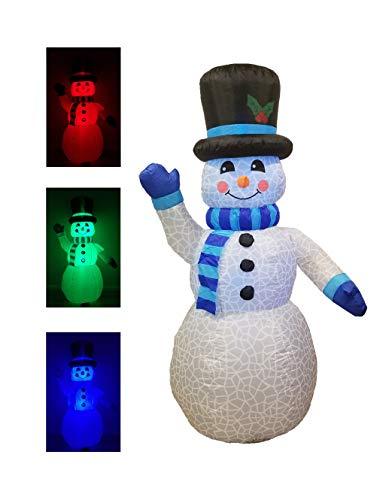 6 Foot Tall Christmas Inflatable Snowman Multi Color LED Lights Decor Outdoor Indoor Holiday Decorations, Blow Up LED Lighted Christmas Yard Decor, Giant Lawn Inflatable for Home Family Outside ()