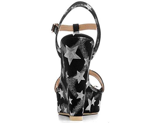 T Keil Party Pumps bis Damenschuhe 40 35 Größe Gurt Pentagramm Plattform Sandalen p6CHqSI