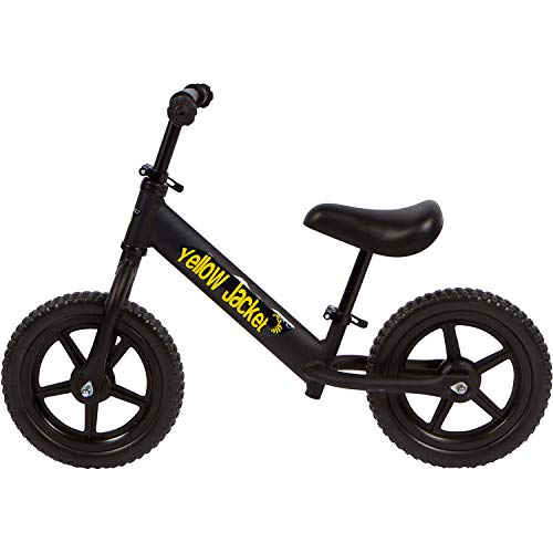 Yellow Jacket Kids Balance Bike - Glider Push Bike for Kids, Toddlers Ages 2, 3, 4 & 5 Years Old Boys and Girls, No Pedal Control Walking Bicycle - Ultra Lightweight, Black
