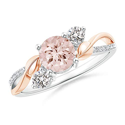 Beiswe Exquisite Flower Bud Finger Rings Double Color Rhinestone Gemstone Engagement Wedding Rings for Women Jewelry Size 6-10 (6#)