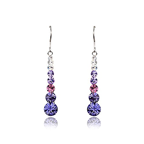 Danglers - Blue, Pink, Purple, White Stellux Crystal Drop Earrings - Mall of - Crystal Mall