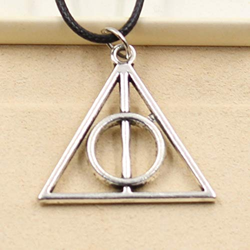 Choker Necklaces - New Fashion Tibetan Silver Pendant Deathly Hallows Necklace Choker Charm Black Leather Cord Factory Price Handmade Jewelry - by ptk12-1 PCs