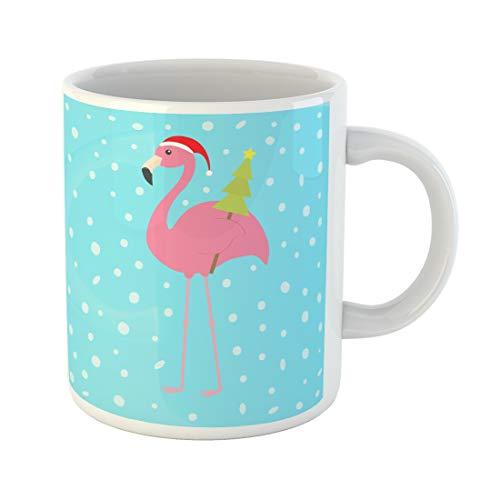 (Emvency Funny Coffee Mug Pink Flamingo with Wing Holding Christmas Fir Tree Santa Claus Hat Exotic 11 Oz Ceramic Coffee Mug Tea Cup Best Gift Or Souvenir)