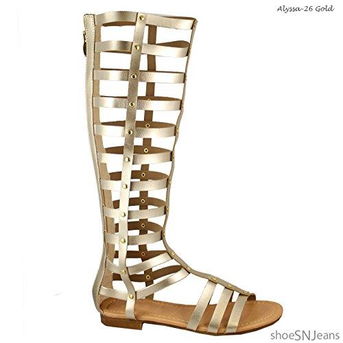 Scarpe Da Donna Con Cinturino Alla Caviglia Con Tacco Alto Gladiatore Color Oro Per Sempre Alyssa-26