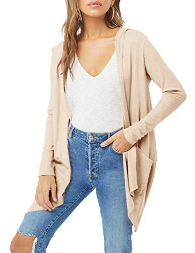 (ChainJoy Women's Solid Color Loose Casual Long Sleeve Open Front Hooded Cardigan Sweater Jacket with Two Pockets (Khaki, S))