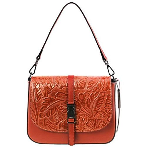 Tuscany Leather Nausica Leather shoulder bag with floral pattern Brandy