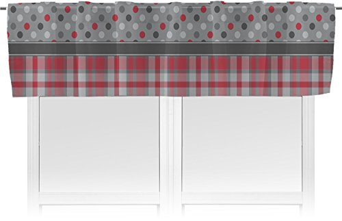 RNK Shops Red & Gray Dots and Plaid Valance - Unlined (Personalized) (Circle Dot Valance)