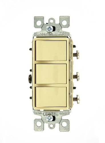 Leviton 1755-I 15 Amp, 120 Volt, Decora Single-Pole, AC Combination Switch, Commercial Grade, Non-Grounded, Ivory