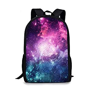 Galaxy Outer Space School Backpack, Vimmucir Unisex Classic Lightweight with Starry Sky Nebula Printing School Bookbag for Girls High School and College, 17 Inches