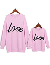 Mommy&Me Love Printed Hoodie Casual Sweatshirt Pullover Family Matching Tops Outfits