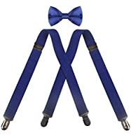 CEAJOO Adjustable X Back Suspenders Pre Tied Bowtie Set for Tuxedo Wedding Party