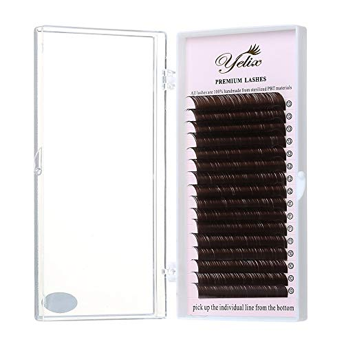 (Dark Brown False Eyelash Extensions Individual Colorful Fake Eye Lashes Natural Mink Lashes Supplies 16 Rows 10-13mm Mixed Length by Yelix (C Curl 0.10mm)
