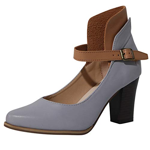 Tantisy ♣↭♣ Women's Chunky Classic Round Toe Ankle Strap Shoes Buckle Closure Leather Mary Janes Dress Pump/8cm/3.14'' - Sexy Lingerie Leather Buckle