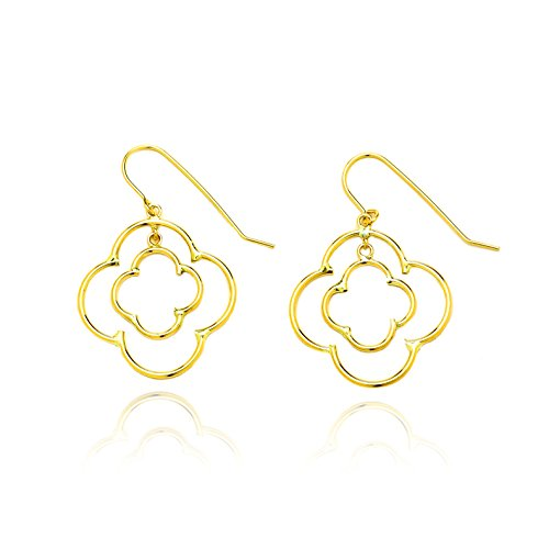 14k Yellow Gold Double Quatrefoil Drop Earring with Fish Hook in Gift Box for Women and Teen Girls by SL Gold Imports