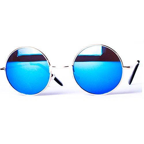 à couleurs ronds rond style 8058 ressort Lunettes différentes verres de soleil charnière Bleu Or Miroir rétro et arrondi nOqRCvq