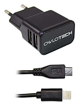 Owlotech OW1043 - Cargador de 2.1 A (con 2 USB, luz, MUSB ...