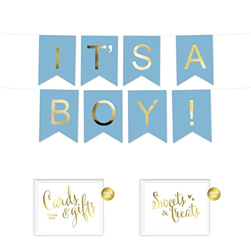 Andaz Press Shiny Gold Foil Paper Pennant Hanging Baby Shower Banner with Gold Party Signs, It's a Boy! Baby Blue, Pre-Strung, No Assembly Required, 1-Set -