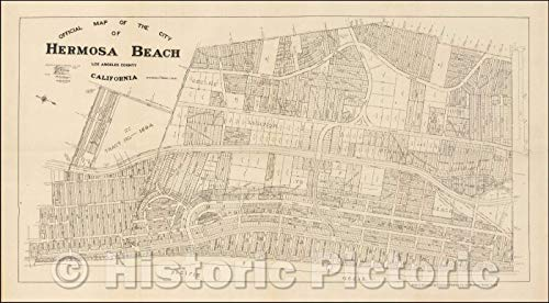 Historic Map | Official Map of the City of Hermosa Beach Los Angeles County California, 1922, Hermosa Realty Board | Vintage Wall Art 44in x 24in