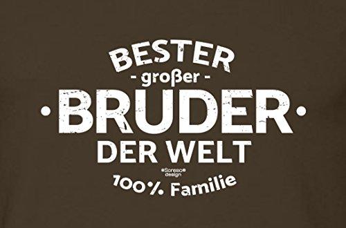 Bruder Geschenkeset Fun-T-shirt zu Weihnachten oder zum Geburtstag mit GRATIS Urkunde - Bester großer Bruder der Welt Farbe: braun Gr: L