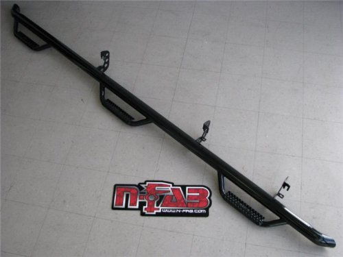 Bed Nerf Steps - N-Fab D10115CC-6-TX Textured Black Crew Cab, 8' Long Bed Nerf Step Access Black-D10115CC-6-TX