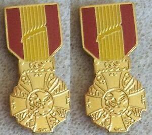 Brand New Republic of Vietnam (RVN) Gallantry Cross Medal Set of 2 Lapel Pin by HighQ Store
