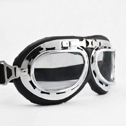 Vintage-Style-Military-WWII-RAF-Pilot-Chrome-Plated-Frame-Arced-Angel-Smoke-Lens-Elastic-Strap-Padded-Frost-Free-Unisex-Men-Women-UV-Goggles-For-Motorcycle-BMX-ATV-Dirt-Bike-Biker-Helmet-Decoration-Ic
