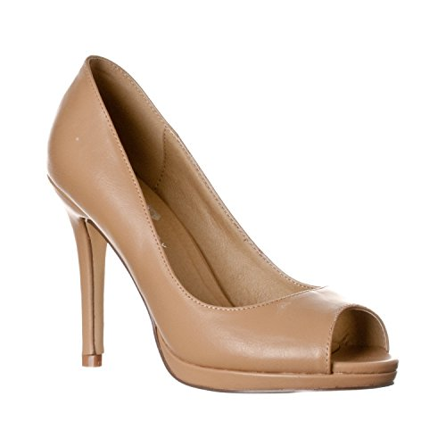 Riverberry Women's Julia Slight Platform Open Toe High Heel Pumps, Taupe PU, 6.5