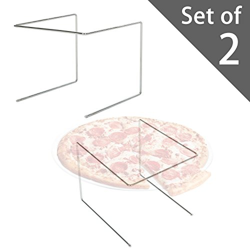 [Set of 2 Metal Pizza Pan Riser Stands, Tabletop Food Platter Tray Display Racks, Silver] (Display Food Pan)