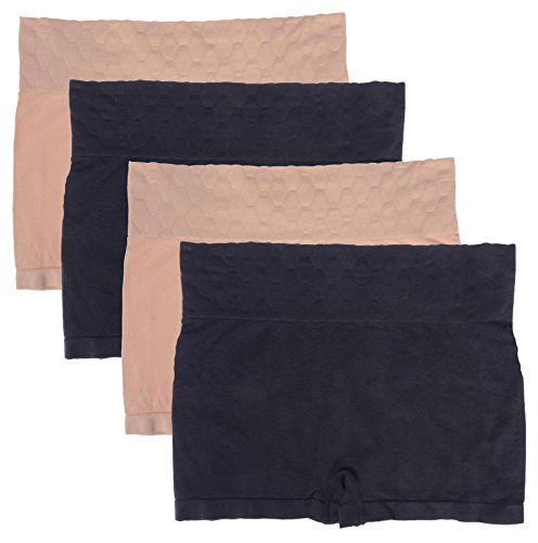 WunderWear Women's 4 Pack Seamless Compression Shaping Boy Shorts (Nude, Black, 3X)