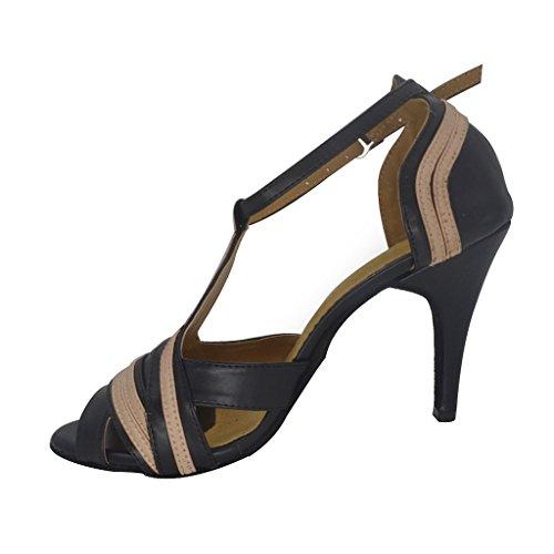 Misu Femmes Peep Toe Sandales Latine Salsa Tango Pratique Chaussures De Danse De Salon Avec 3.9 Talon