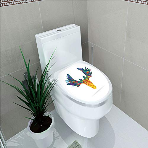 Toilet Cover Decoration,Antlers Decor,Deer Head Modern Design Trophy Geometric Glass Horn Wildlife Art,3D Printing,W11.8
