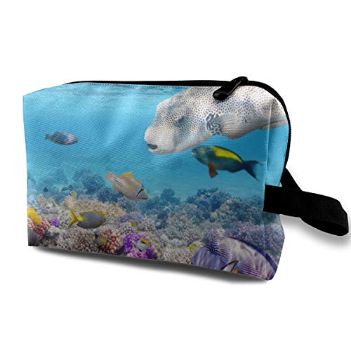 LEIJGS Turtle Coral Underwater Abstract Coral Reef Life Small Travel Toiletry Bag Super Light Toiletry Organizer for Overnight Trip Bag (Life Bath Reef)