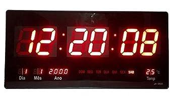 707cff51623 Relógio De Parede Digital Led Gigante Data Termometro  Amazon.com.br ...