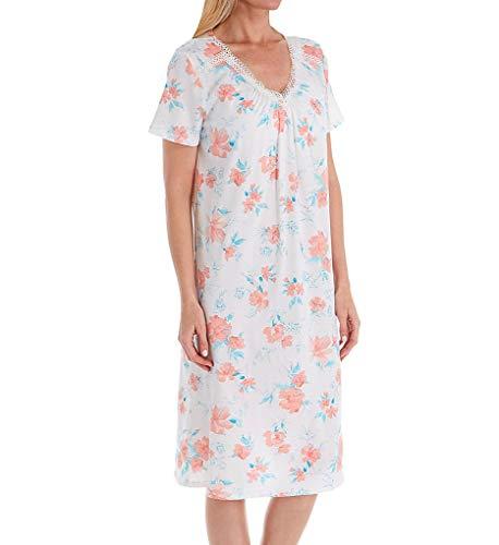 Carole Hochman Women's Long Nightgown, Coral Watercolor Floral, M Carole Hochman Cotton Nightgown