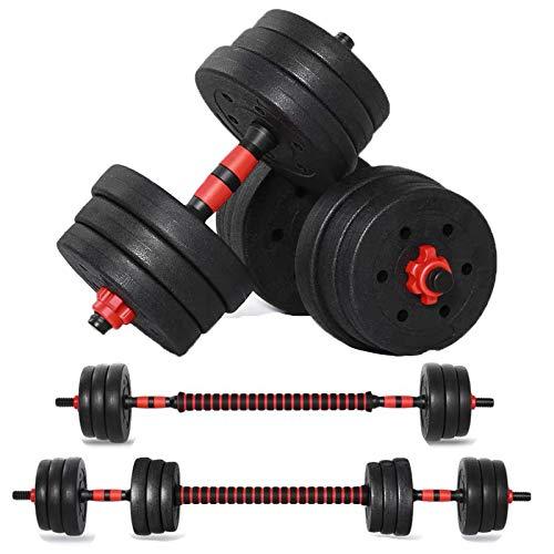 Adjustable Weights Dumbbell Set, 44LB/20KG 3 in 1 Adjustable Dumbbells Barbell Set with Connecting Rod for Men Women…