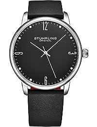 Stuhrling 3997Z - Reloj de pulsera para hombre, correa de piel de becerro, diseño casual y vestido, esfera analógica con fecha, colección para hombres, negro (B Black)