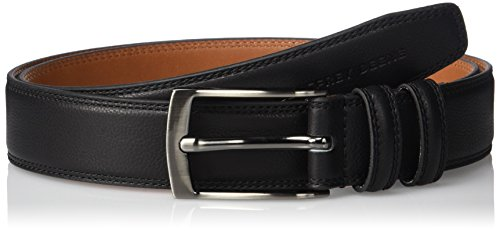 Geoffrey Beene Men's Feather Edge Dress Belt with Brushed Gunmetal Buckle, black, 36 ()