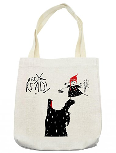 Lunarable Modern Tote Bag, Cartoon Design Print with a Little Red Riding Hood Girl and Wolf Theme, Cloth Linen Reusable Bag for Shopping Groceries Books Beach Travel & More, -