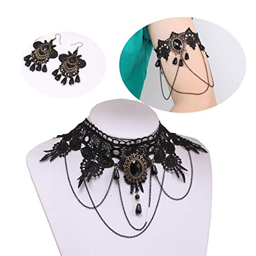 VUJANTIRY Halloween Jewelry Set for Women Gothic Lace Choker Necklace Upper Armlet Bracelet Chandelier Drop Dangle Earrings -