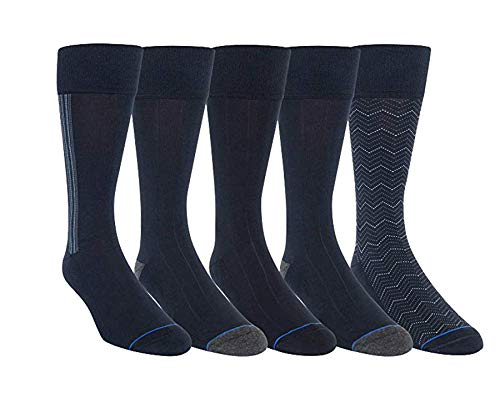 Kirkland Signature Mens 5 Pair Cushioned Crew Dress Sock (Navy-Assorted) Shoe Size 6 1/2-12