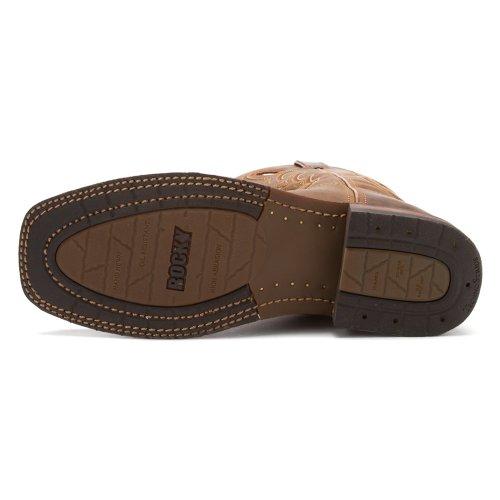 Steinete Handhewn Menns Brun Skinn Brede Firkantet Tå Cowboy Boots Sale Brun