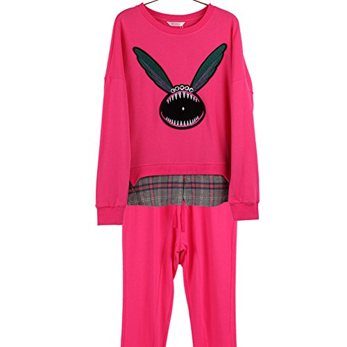 pijamas de vestir exteriores del otoño/Paquetes de servicios a domicilio/Costura estilo jersey de manga larga traje de los pantalones de la camisa A