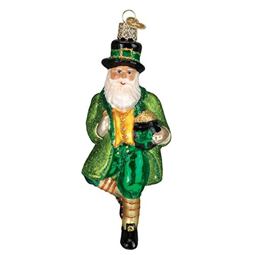 Old World Christmas Glass Blown Ornament with S-Hook and Gift Box, Santa Collection (Irish Santa)