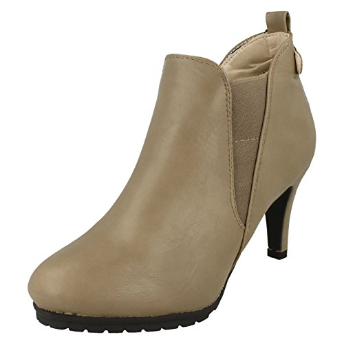 Beige Chelsea Heeled Elasticated On Boots Taupe Spot Ladies Womens 8wBn6q