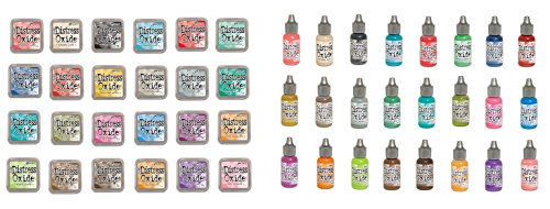 Tim Holtz and Ranger Distress Oxide Inks - Complete set of 24 Distress Oxide Ink pads and 24 Distress Oxide Ink Reinkers and Bonus Oxide Ink Color Chart by Ranger Ink