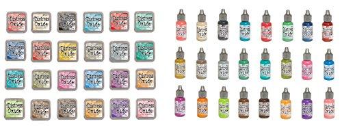 Tim Holtz and Ranger Distress Oxide Inks - Complete set of 24 Distress Oxide Ink pads and 24 Distress Oxide Ink Reinkers and Bonus Oxide Ink Color Chart by Ranger