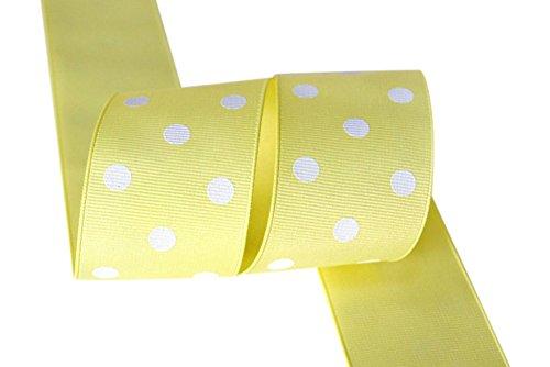 Ribbon Bazaar Grosgrain Polka Dots 7/8 inch Baby Maize 25 Yards 100% Polyester Ribbon