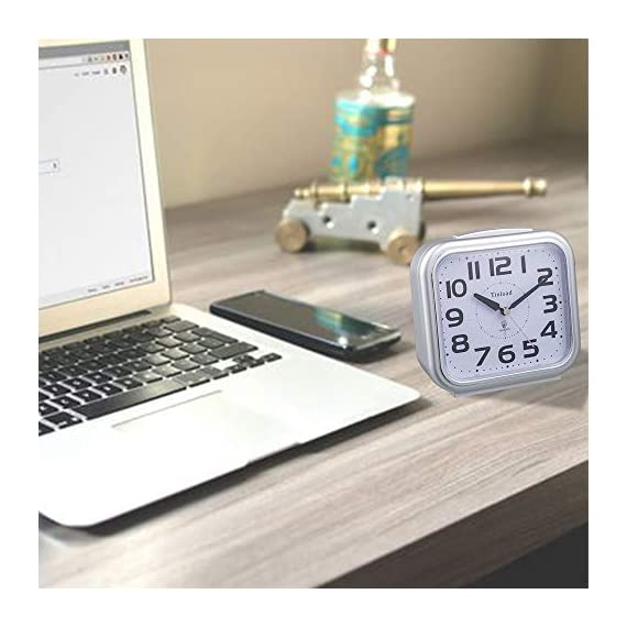"5.5"" Silent Analog Alarm Clock Non Ticking, Gentle Wake, Beep Sounds, Increasing Volume, Battery Operated Snooze and Light Functions, Easy Set, Silver (Best for Elder) - Super Large Size-- Size: 5.5"" x 5.5"" x 2.3"". Alarm clock stands up at an angle, high quality plastic, square face with white dial, black Arabic numerals, good decoration for tabletop, desk & shelf, bedrooms. Also large size screen and clear bold digits to display time, perfect alarm clock for elderly. Completely Silent-- Super quiet concise design alarm clock without annoying tick tock sound, ideal for those who need complete silence to fall asleep. Snooze and Light Function-- Snooze and light button locates on easy-to-find top place. Hold button down for 5 minutes snooze or to light up the clock face on demand to see the dial momentarily in the darkness. - clocks, bedroom-decor, bedroom - 41rHd%2BvLIYL. SS570  -"