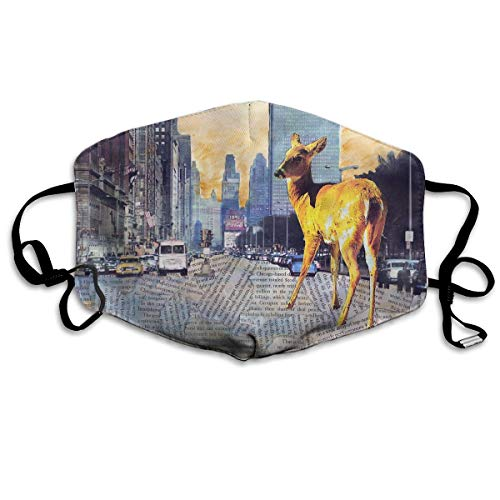 Lojaon Breathability Face Mouth Cover Mask - Safety Respirator Deer Chicago Collage Print Earloop Mask -
