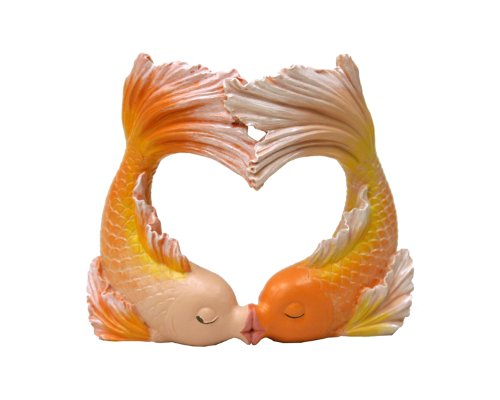 Exotic Environments Kissing Goldfish Heart Aquarium Ornament, 2 Small, 4-1/4-Inch by 2-Inch by 3-3/4-Inch (Kissing Hearts)